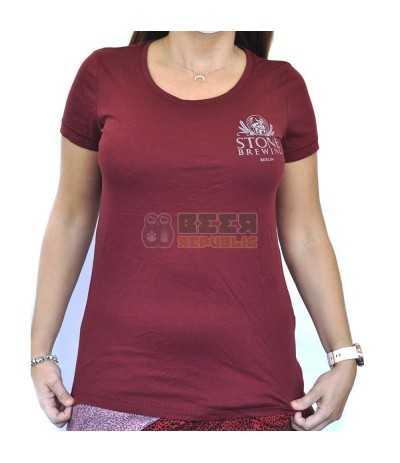 Camiseta Stone Brewing Berlin Rojo Burdeos Mujer