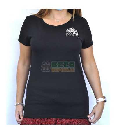 """Camiseta Stone Negra Mujer """"Craft Beer Here"""""""